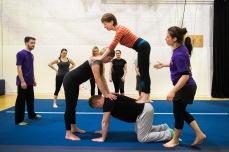trust-building human pyramid